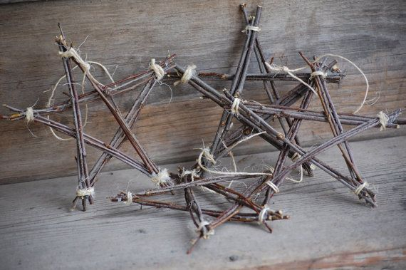 Twig Star Ornament wall hanging northwoods decoration rustic woodsy primitive. $12.00, via Etsy.