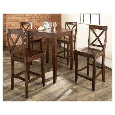 5 Piece Pub Dining Set with Tapered Leg and X-Back Stools - Vintage Mahogany (Brown) Finish - Crosley