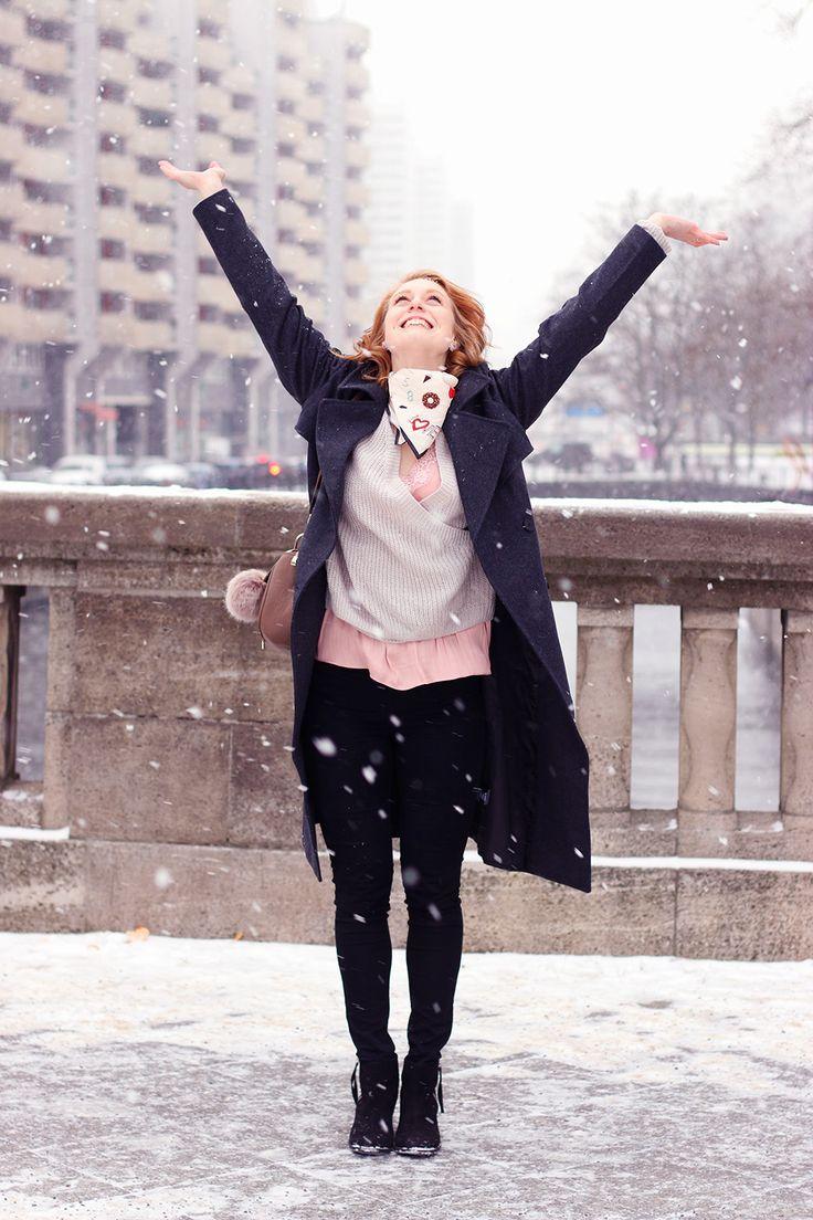 Schnee, Tanz, langer Wintermantel, Matel stylen, Winter Outfit, Look, Fashion Week Berlin 2017, Modeblog, Influencer, Advance Your Style