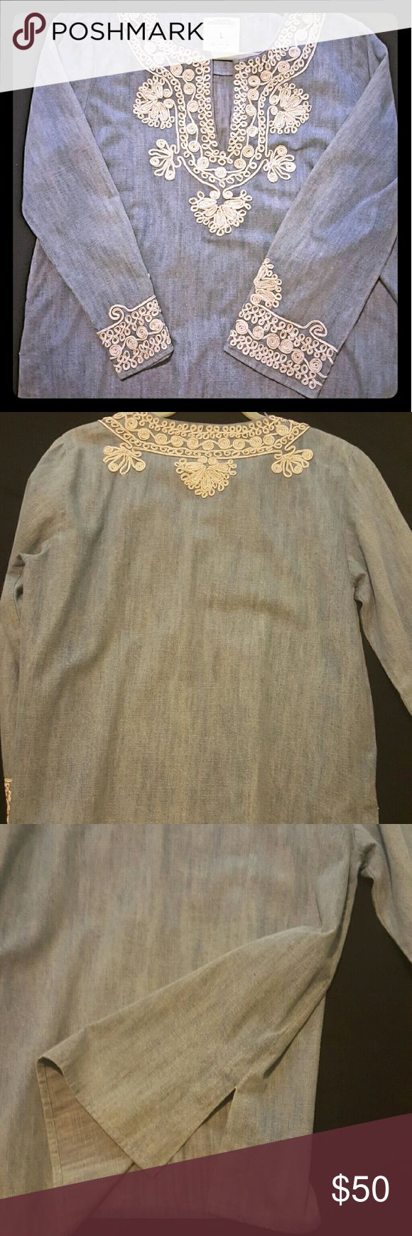 ZARA BOHO DENIM SHIRT - WOMENS NEVER WORN. Bought this top on impulse and realized it's just not my style. Excellent quality denim and the lacing is very pretty. Pair with leggings and cute booties! Zara Tops Blouses