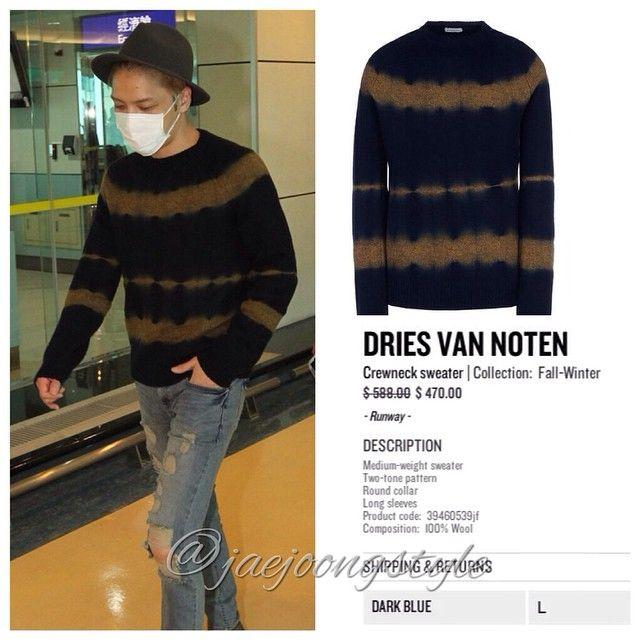 it's @DriesVanNoten #sweater that #Jaejoong wore at Taoyuan International Airport (09/10/14). Price: $588.00 (regular). Credit: JYJ3 for airport photo and thecorner.com for #fashion details. #crewneck #airportfashion #JYJ #kimjaejoong #KoreanIdol #Korean #celebrity #star #singer