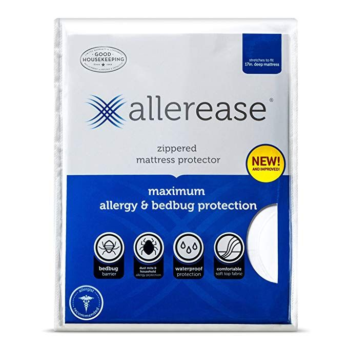 Allerease Maximum Allergy And Bed Bug Waterproof Zippered Mattress Protector Allergist Recommended To Prevent Mattress Protector Mattress Allergy Protection