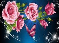 Różowe, Róże, Motyl, Refleksy, Światła, Grafika, Komputerowa