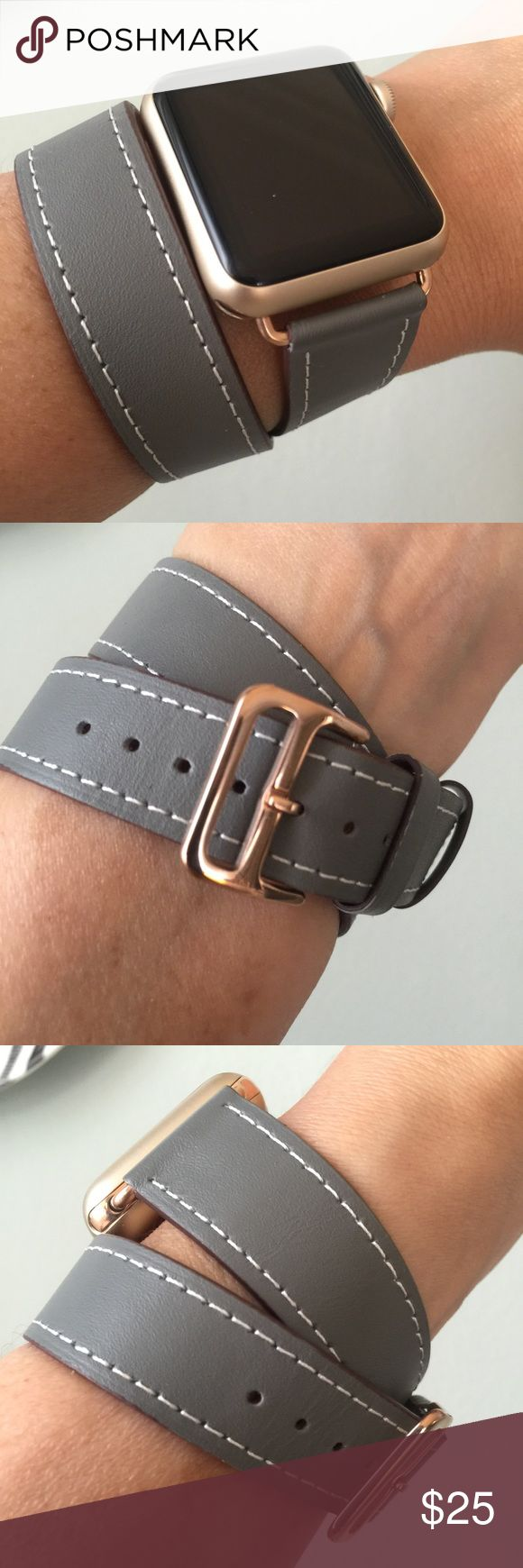 ROSE GOLD HW Gray Apple Watch double tour band! ⌚️ Double tour band, leather.  It comes with 38mm or 42mm adapters. Please select your size when you purchase. The adapters fit the Apple Watch I, 2 and Sport.    I also have other band colors, hardware colors and styles in my closet. Check them out! If you don't see what you are looking for, feel free to message me!    I offer 15% off if you buy two or more! Add BOTH items to the bundle for the discount to automatically apply.    Only the band…