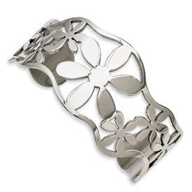 Genuine IceCarats Designer Jewelry Gift Stainless Steel Flowers Cuff Bangle IceCarats. $26.00. Genuine IceCarats Designer Jewelry Gift. Weight 22.37 grams. Stainless Steel. Polished Cuff Stainless Steel Cut-out. 30 day money back guarantee. Save 65%!