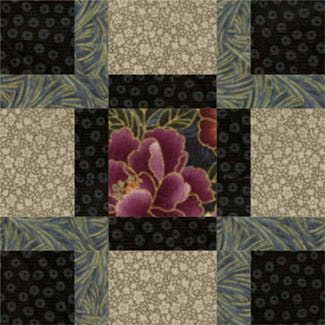 """City Streets Quilt Block  Think of using your large prints, the ones you """"just can't cut""""!"""