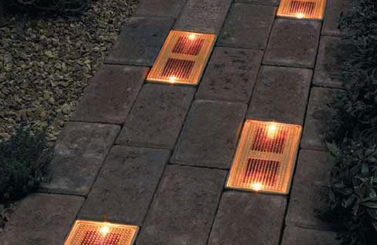 Spice up your patio or walkway this fall with Sun Bricks, the solar-powered ground lighting system that will guide people to your front door with their inviting glow.