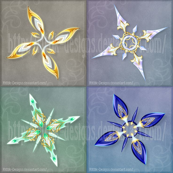 Shurikens (set 4) - Sale! by Rittik-Designs on DeviantArt