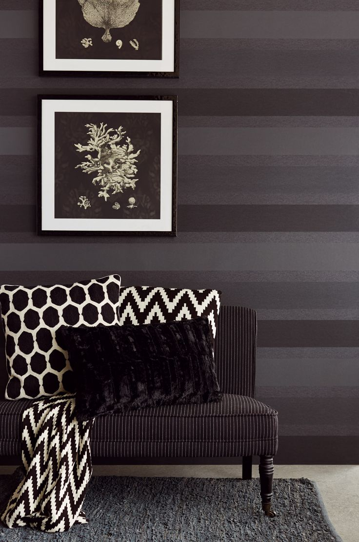 Classic black on black stripe from Savour wallpaper collection