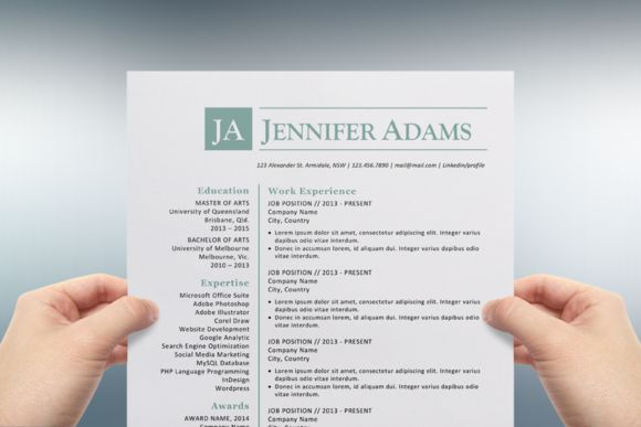 Blue initials Word resume template by Inkpower on Creative Market