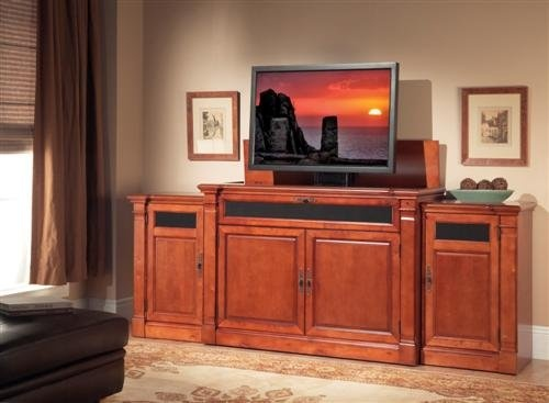 adonzo tv lift cabinet with side cabinets