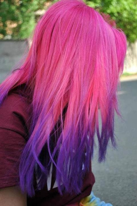 dip dye hair purple and pink - photo #8