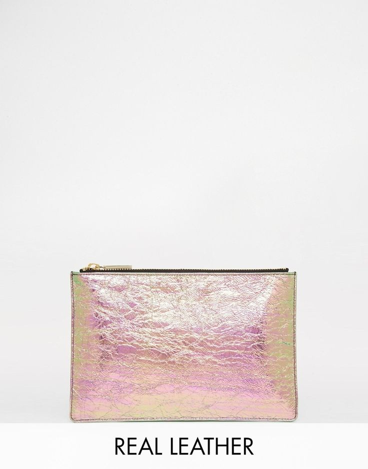 Whistles+Leather+Iridescent+Clutch