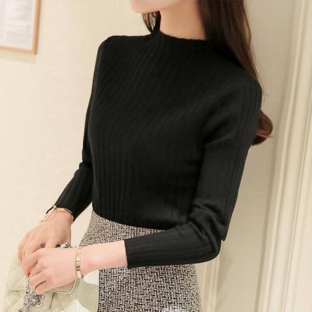 Ordifree 2017 Autumn Winter Women Knitted Sweater Pullover Pull Femme Knitwear White Black Half Turtleneck Women Jumper Sweater
