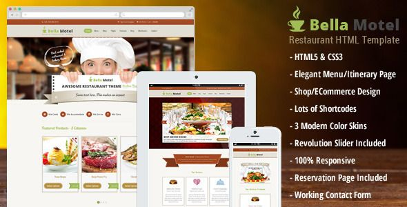 Bella Motel - Restaurant & Bakery Responsive HTML   Created: 19December13 LastUpdate: 28December13 Columns: 4+ CompatibleBrowsers: IE8 #IE9 #IE10 #IE11 #Firefox #Safari #Opera #Chrome Documentation: WellDocumented HighResolution: No Layout: Responsive ThemeForestFilesIncluded: LayeredPSD #HTMLFiles #CSSFiles #JSFiles Tags: bakery #bar #business #cafe #coffeeshop #cooking #dinning #ecommerceHTML #food #hotel #icecream #pub #responsive #restauranttemplate #shoptemplate #themeforest