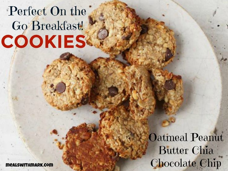 Perfect On the Go Breakfast! Oatmeal Peanut Butter Chia Chocolate Chip Cookies!