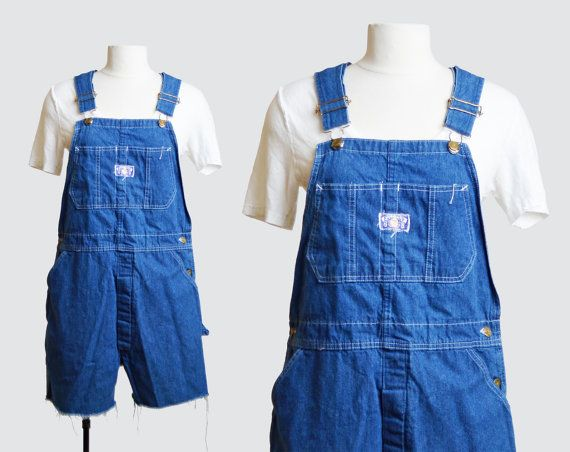 Vintage 70s Denim Overall Shorts / 1970s Shortall Jean Shorts Romper Playsuit s m