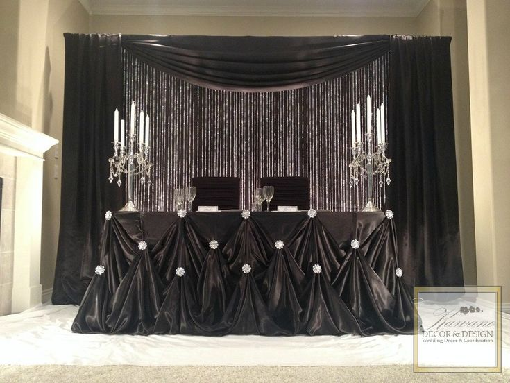 Black Cinderella Head Table Draping #kawanodecordesign