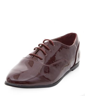 Wide Fit Burgundy Patent Lace Up Brogues