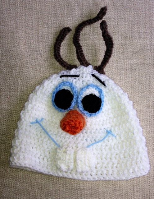 Crocheted Olaf the Snowman from Frozen hat  by lilosandstitches, $15.00