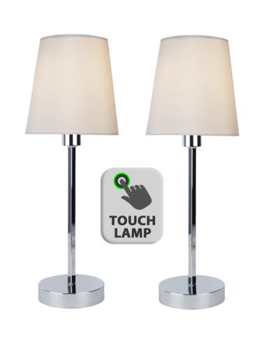Pair-of-Modern-Silver-Chrome-Touch-Lamps-Bedside-Lights-With-Ivory-Fabric-Shades