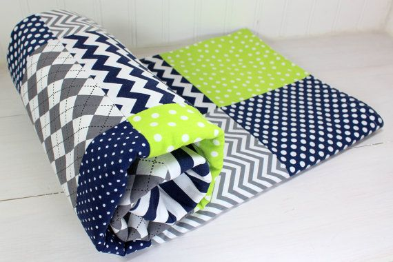 Baby Boy Blanket, Nursery Decor, Photography Prop, Minky Blanket, Crib Blanket, Chevron Nursery, Navy Blue, Lime Green, Gray, Grey Chevron