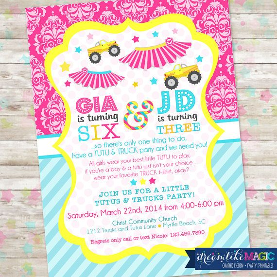Hey, I found this really awesome Etsy listing at https://www.etsy.com/listing/175933034/tutus-and-trucks-party-invitation-joint