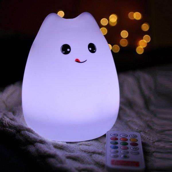 $12.88 LED desenhos animados recarregável USB Colorful Remote Control Night Light