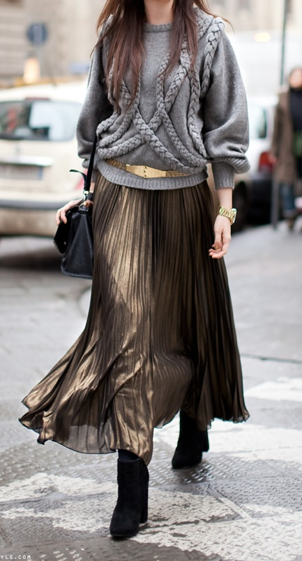 Sweater + metallic skirt-this is such a pretty way to do metallics for fall!
