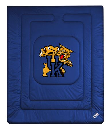 Kentucky Wildcats Locker Room Comforter, starting at  $72.95 at MySportsDecor.com. Great for your bedroom, a kid's bedroom, or a dorm room. http://www.mysportsdecor.com/kentucky-wildcats-locker-room-comforter.html... #kentuckywildcats #kentuckywildcatsbedding #kentuckywildcatscomforter