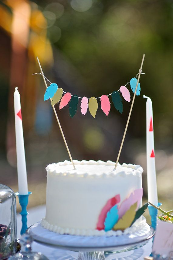 Paper feather cake topper by TheConfettiCommittee on Etsy, $25.00