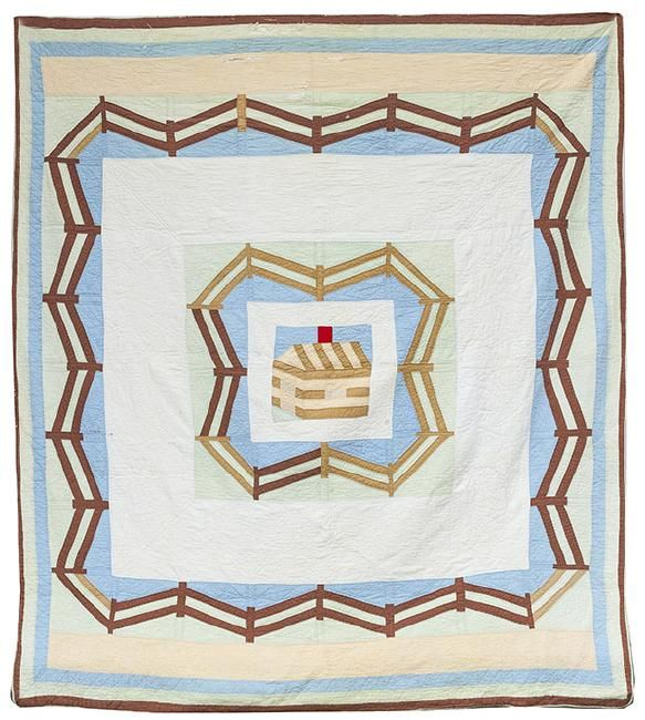 Pieced Oklahoma Pictoral Quilt  c1920
