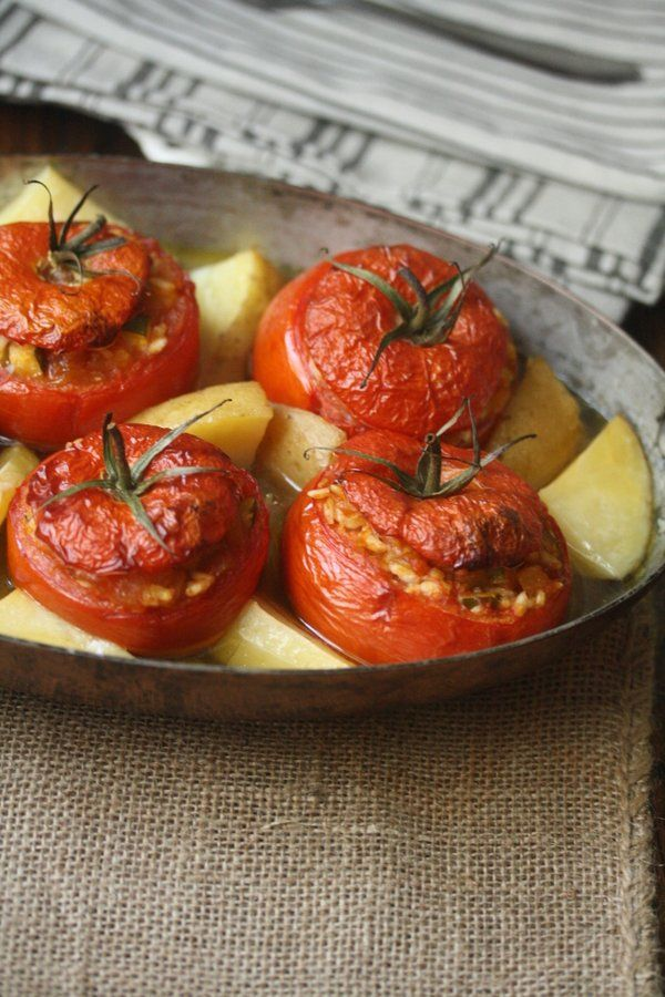 Greek Baked Stuffed Tomatoes Recipe with Rice and Potatoes (Yemista) | Vegetarian