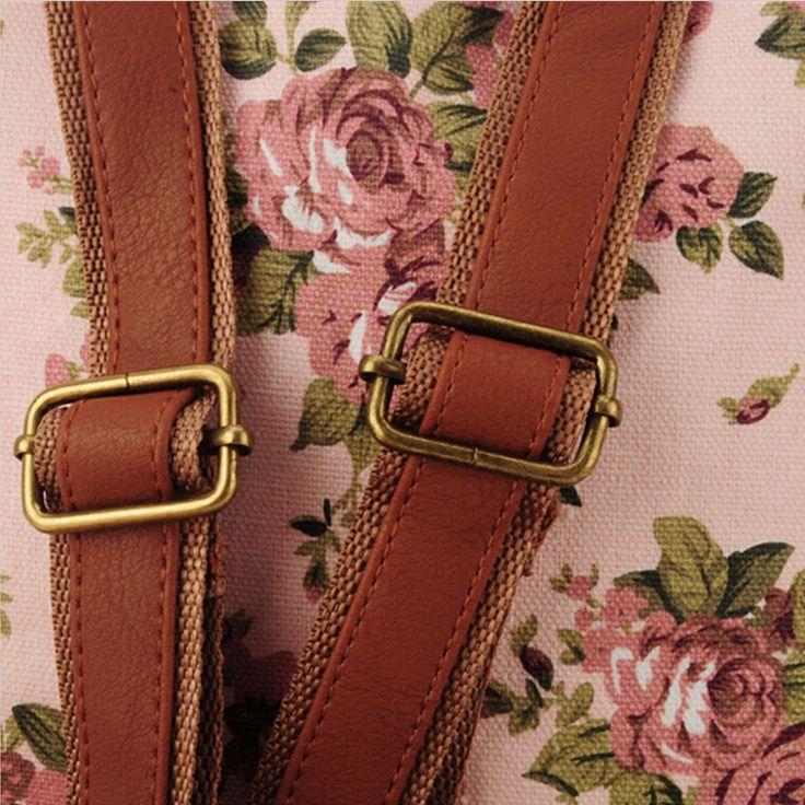 Bolsa Feminina De Couro E Lona Retrô : Vintage impress?o mochila de lona mochilas escolares