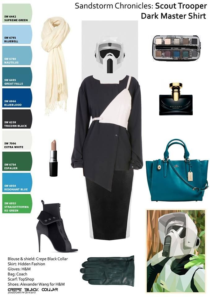 "Get the look at: https://www.facebook.com/crepe.black.collar.ro The next #HowTo from #Sandstorm #Chronicles is ""How to wear all black"": A sombre outfit for the office. It has an #edgy #leader look, yet #feminine. #ScourTrooper is wearing the #Dark #Master shirt and ""Silver Shield"" from #CrepeBlackColar, #HiddenFashion skirt, #Coach bag, #HM gloves, #TopShop scarf and #WangHM shoes. #office #fashionlover  #palette #workoutfit #ootd #outfitpost Poster from Tim Lautensack, print from Liam…"