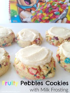 Fruity Pebbles Cookies with Milk Frosting...the milk frosting, especially, sounds delicious!