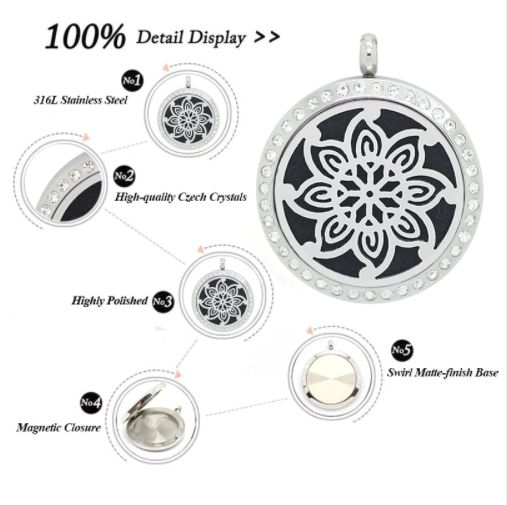 Stainless Steel Essential Oil Diffuser with czech crystals. #diffuser #jewellery  #essentialoil
