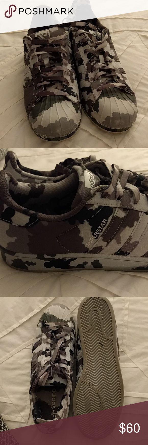 Adidas camo Superstars mens 11 Adidas camo Superstars mens 11 worn 3 times Adidas Shoes Athletic Shoes