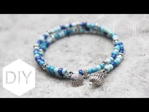DIY sieraden maken met Kralenhoekje - Beachy memory wire armband - YouTube