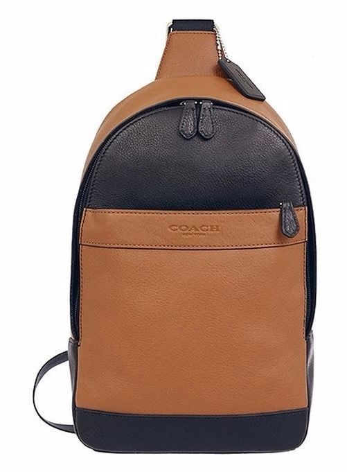 COACH Men 71751 ~ CAMPUS PACK ~ Saddle & Black LEATHER SLING Bag Backpack ~ NWT #Coach #Backpack