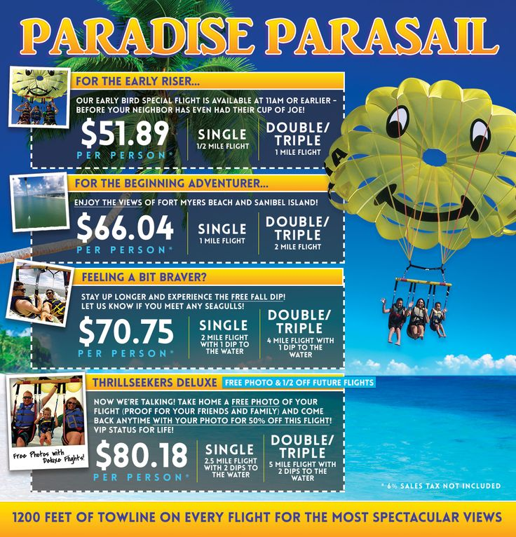 Paradise Parasail Florida Pricing Parasailing, Florida