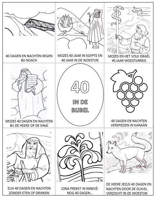 hemelvaartsdag kleurplaat 40 in de bijbel bijbels
