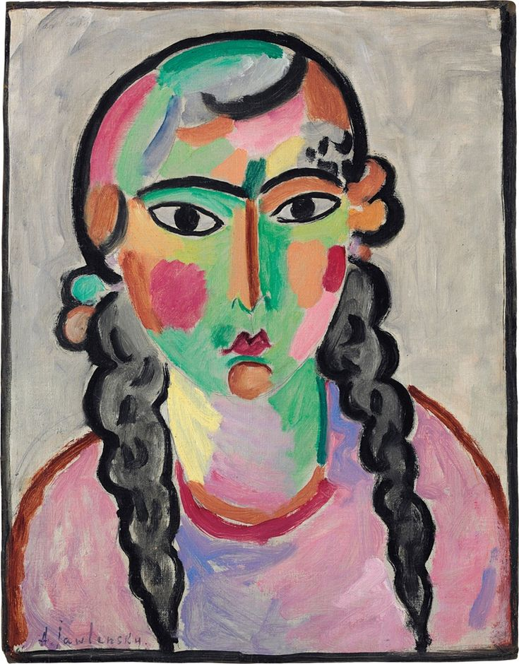 Alexej von Jawlensky (1864-1941), Das blasse Mädchen mit grauen Zopfen, circa 1916. Oil over pencil on linen-finish paper laid down on masonite