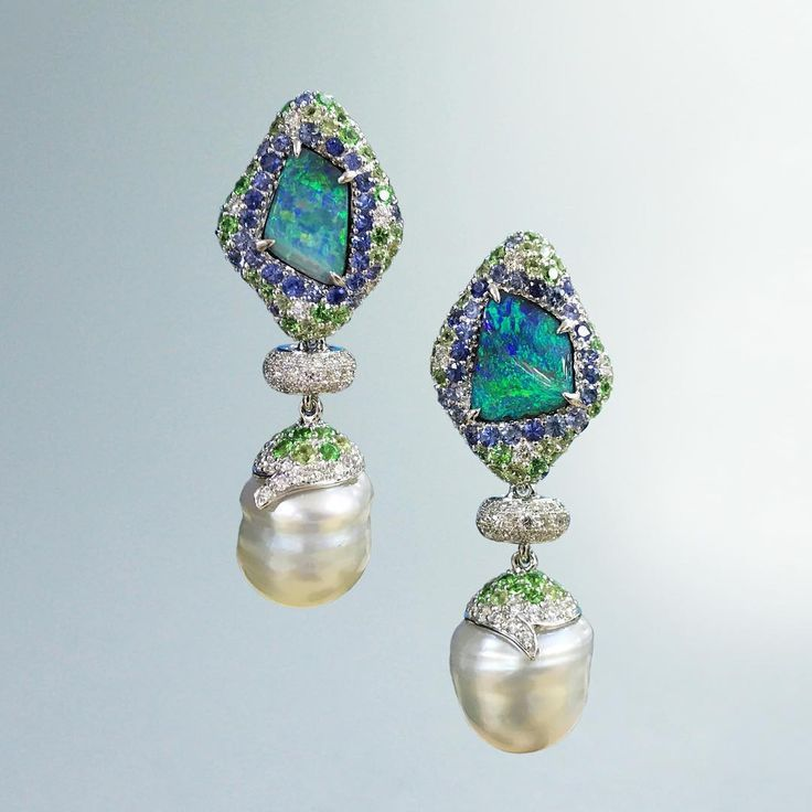 3 piece flower multi colored pearl set with memory wire bracelet hoop fish hook earrings and Frost Acrylic Bell Trumpet Flower earrings