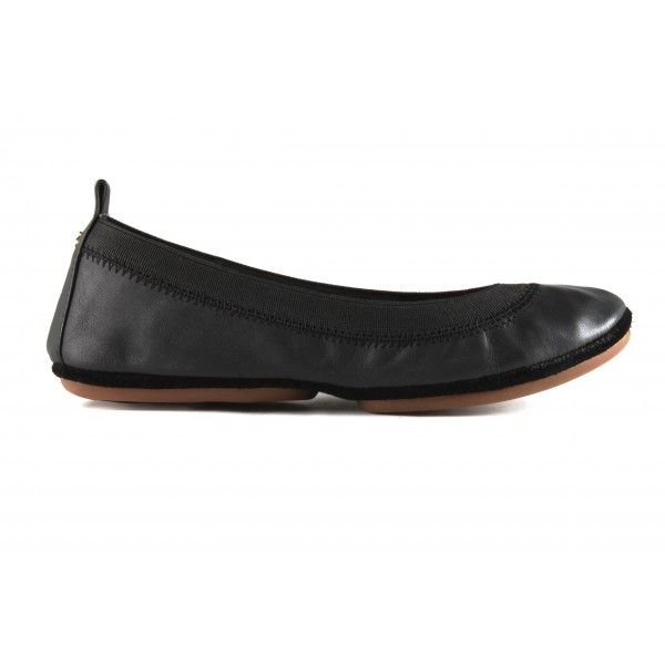 Samara Soft Leather in Black - Classic Leather - Foldable Flats