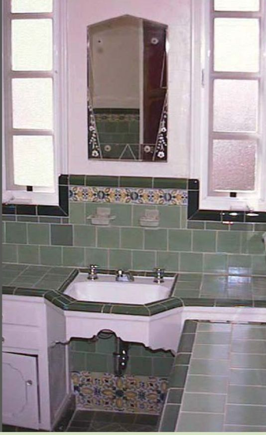 Original 1930s bathroom sink love the tiling of for 1930 style bathroom ideas