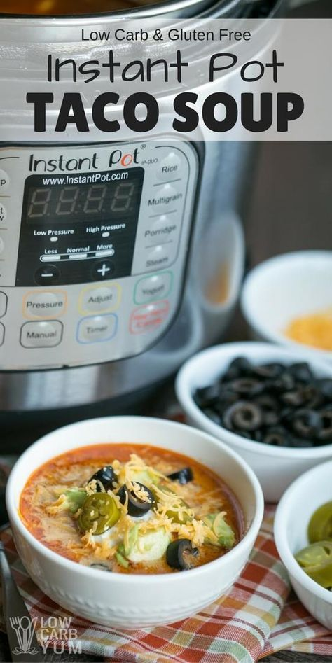 The Instant Pot cuts the cooking time for this simple low carb taco soup recipe. After the cooker reaches desired pressure, it's done in 15 minutes.  | LowCarbYum.com via @lowcarbyum