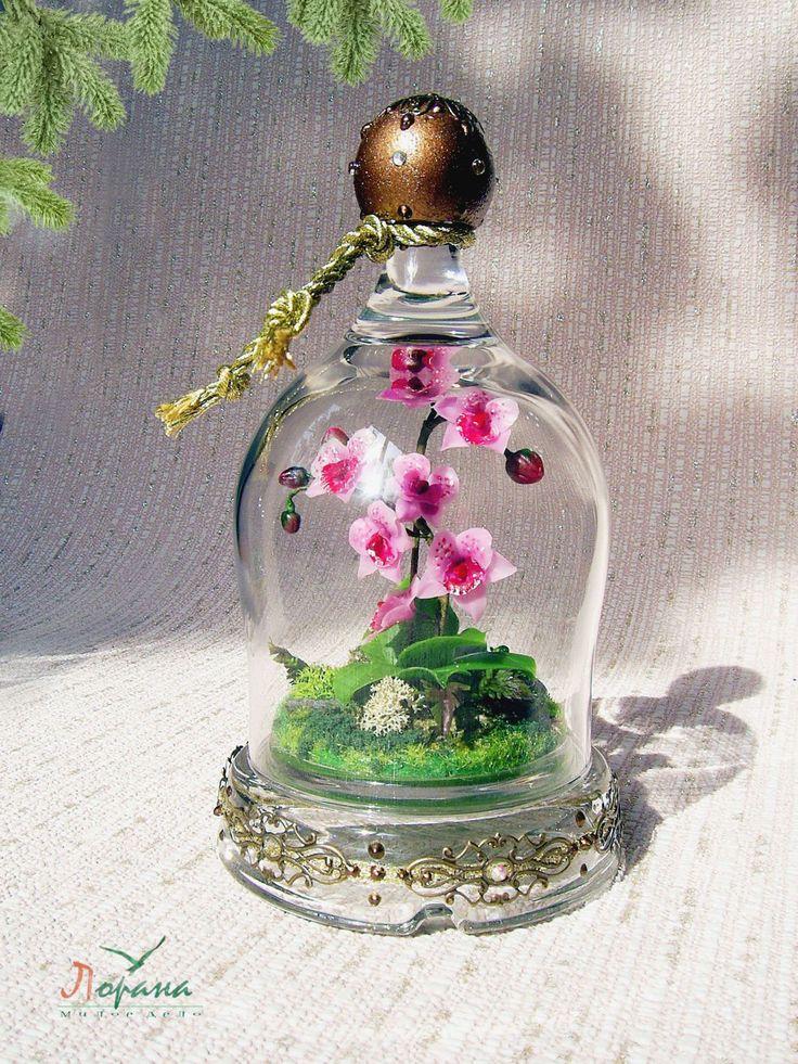 """Купить Миниатюрная композиция """"Орхидея"""" - подарки и сувениры, подарки на новый год, полимерная глина, миниатюрные композиции"""