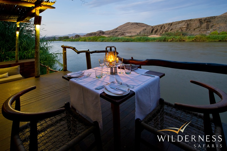 Serra Cafema Camp - The Serra Cafema Ozonganda, or main area, comprises indoor and outdoor dining areas, sunken lounge, library, curio shop and swimming pool, all sharing views of the Kunene River.