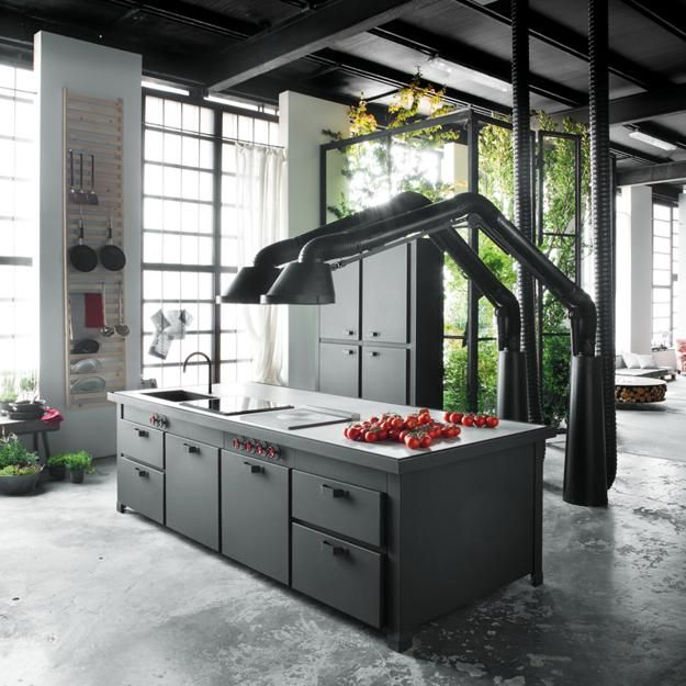 Lovely Unique Kitchen Hood Design Brings Industrial Style Into Contemporary Lofts